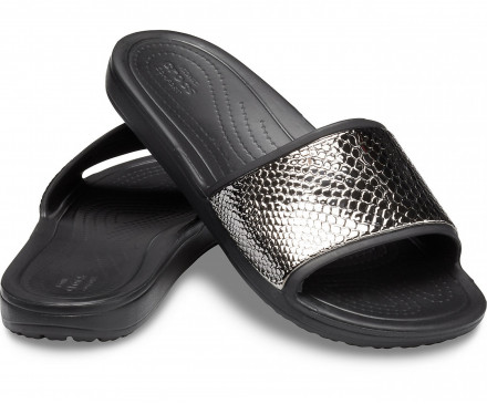 Women's Crocs Sloane Metallic Texture Slide