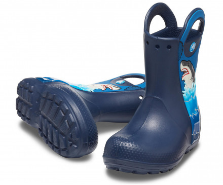 Boys' Crocs Fun Lab Shark Patch Rain Boot